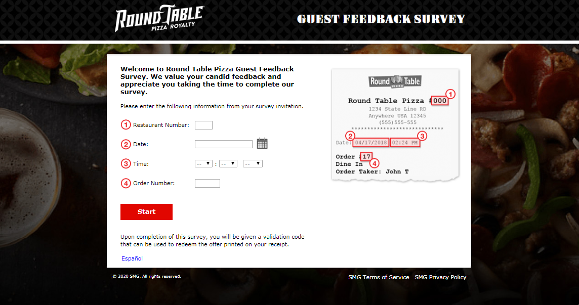 Round Table Pizza Guest Satisfaction Survey